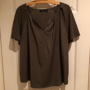Army green textured tee shirt blouse